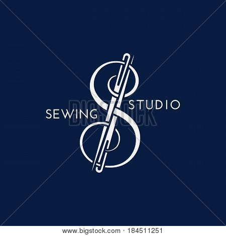 Template for logo label emblem with thread and needles. Vector illustration.