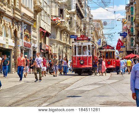 Heritage Tram On Istiklal Avenue, Istanbul