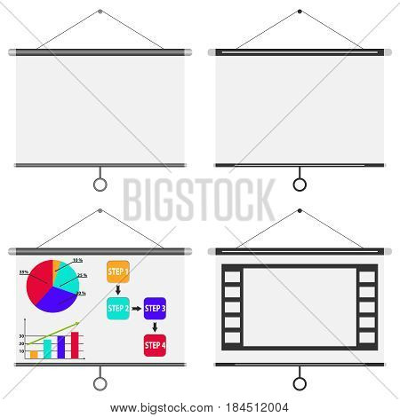 Blank white board meeting projector screen. Flat design vector illustration vector.