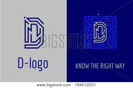 Creative logo for corporate identity of company: letter D. The logo symbolizes labyrinth, choice of right path, solutions. Suitable for consulting, financial, construction, road companies, quests, educational schools.