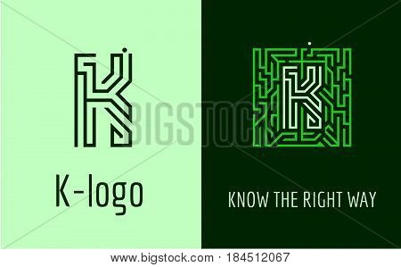 Creative logo for corporate identity of company: letter K. The logo symbolizes labyrinth, choice of right path, solutions. Suitable for consulting, financial, construction, road companies, quests, educational schools.