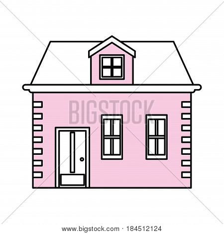 color silhouette image facade house with two floors vector illustration
