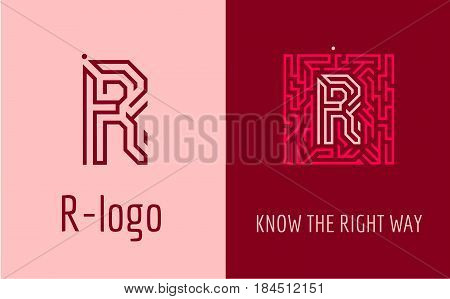 Creative logo for corporate identity of company: letter R. The logo symbolizes labyrinth, choice of right path, solutions. Suitable for consulting, financial, construction, road companies, quests, educational schools.