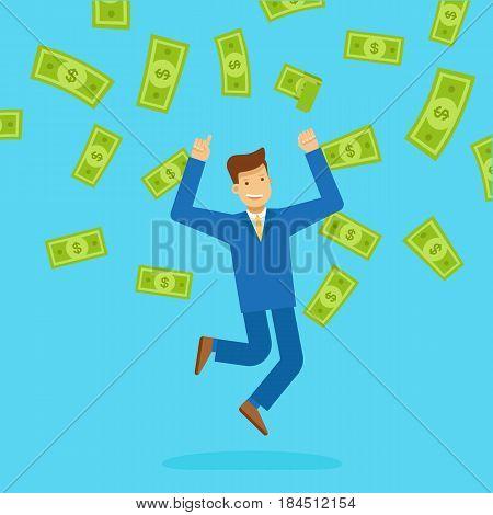 Vector illustration in flat style - happy man winning money lottery - dollar rain falling on lucky guy - business success concept