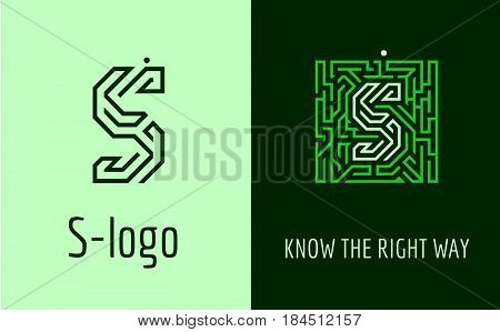 Creative logo for corporate identity of company: letter S. The logo symbolizes labyrinth, choice of right path, solutions. Suitable for consulting, financial, construction, road companies, quests, educational schools.