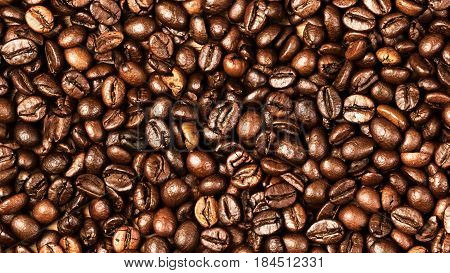 Coffee beans background macro. Dark Roasted coffee beans textured wall paper for your design with copy space