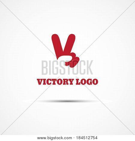 Template for logo label emblem with V hand victory symbol. Vector illustration.