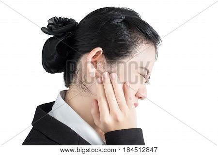 Toothache Symptom In A Woman Isolated On White Background. Clipping Path On White Background.