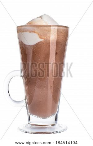 Cocoa With Vanilla Ice Cream On White Background