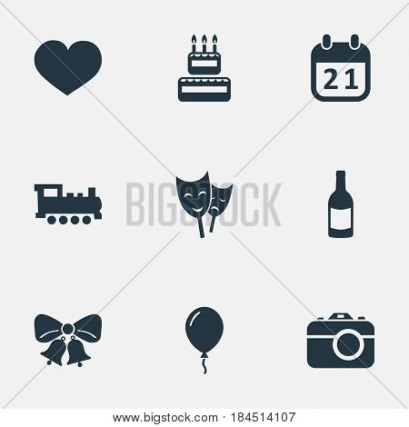 Vector Illustration Set Of Simple Holiday Icons. Elements Mask, Soul, Confectionery And Other Synonyms Fizz, Beverage And Camera.