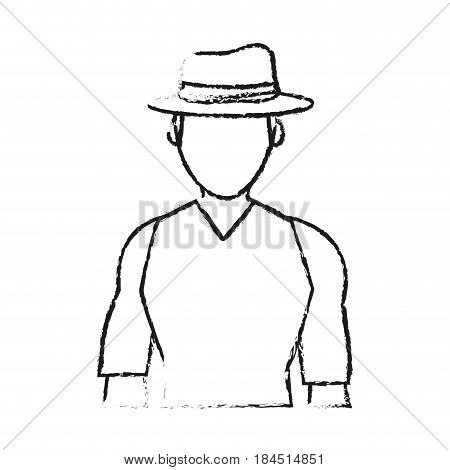 blurred silhouette half body faceless explorer man with hat vector illustration