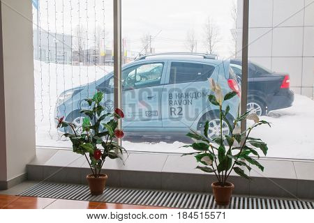 Showroom And Car Of Dealership Ravon In Kirov City In 2017