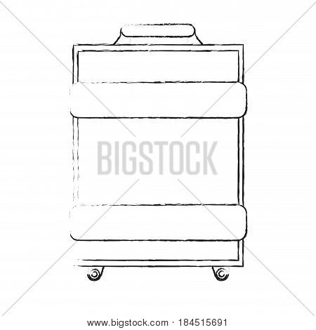 blurred silhouette travel baggage with handle vector illustration