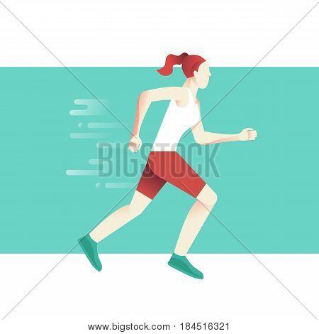 Woman Running Marathon Concept - Sport Poster