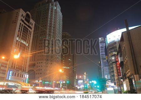 TAICHUNG TAIWAN - DECEMBER 10, 2016: Taiwan Boulevard Taichung downtown night cityscape Taiwan