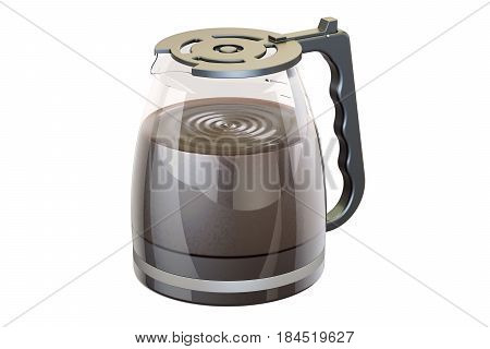 Coffee pot from coffeemaker with espresso 3D rendering isolated on white background