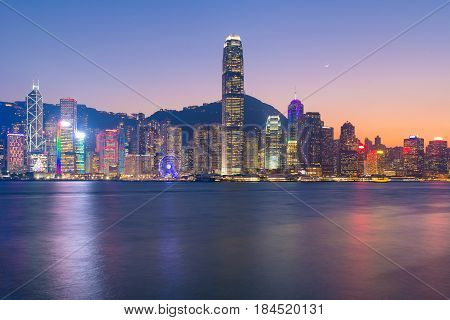 Hong Kong Downtown The Famous Cityscape View Of Hong Kong Skyline During Twilight Time From Kowloon