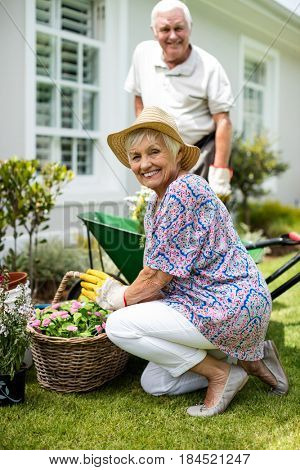 Senior couple gardening together in backyard