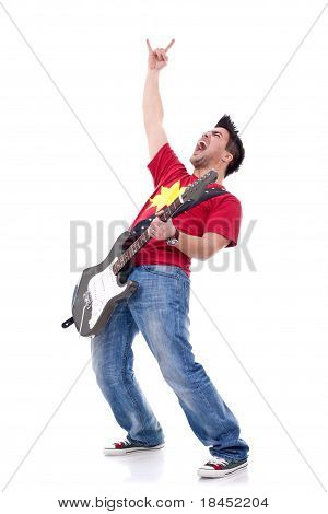 heavy metal guitarist making a rock and roll gesture while screaming and playing poster
