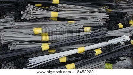 A selection of various bundled cable ties