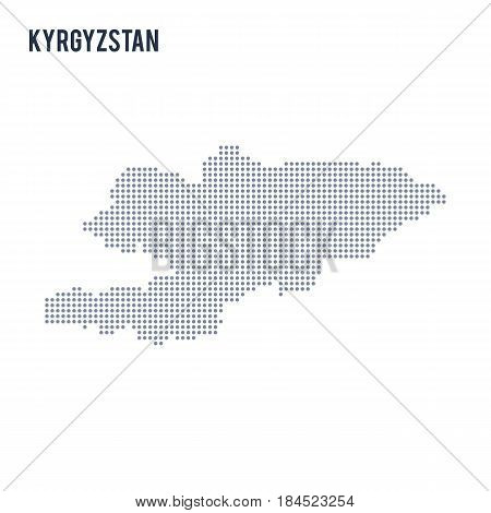 Vector Dotted Map Of Kyrgyzstan Isolated On White Background .