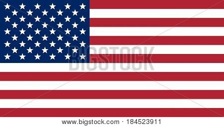 The US flag with the correct proportions in size and color