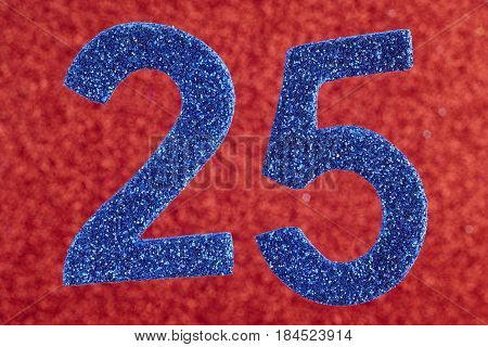 Number twenty-five blue color over a red background. Anniversary. Horizontal