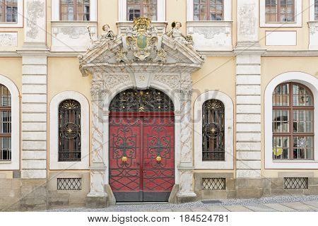 Historic facade with beautiful door of a residential home in the town of Goerlitz, Germany