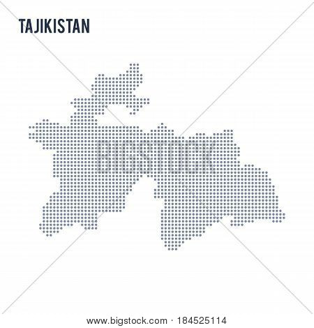 Vector Dotted Map Of Tajikistan Isolated On White Background .