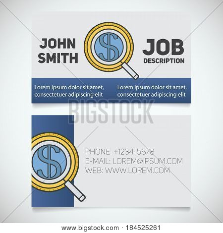 Business card print template with investors search logo. Manager. Businessman. Magnifying glass with dollar sign. Stationery design concept. Vector illustration