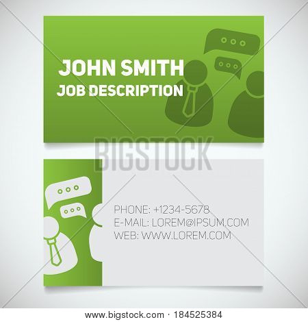 Business card print template with interview logo. Manager. Journalist. Reporter. Employer. Employee. Stationery design concept. Vector illustration