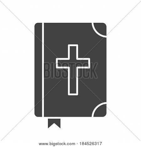 Holy Bible glyph icon. Silhouette symbol. Negative space. Vector isolated illustration