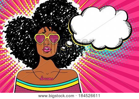 Wow Pop Art Face. Sexy Woman With Black Afro Curly Hair And Open Mouth And Sunglasses In Form Of Hea