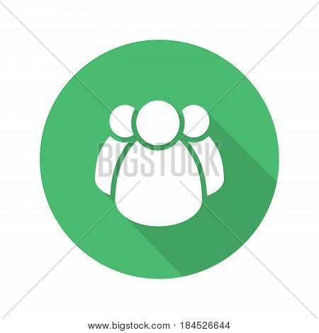People group flat design long shadow icon. Team. Vector silhouette symbol
