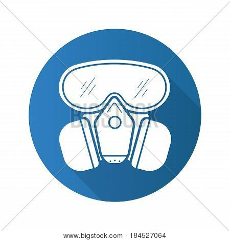 Gas mask flat design long shadow icon. Chemical lab protective mask. Vector silhouette symbol