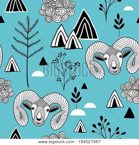 Seamless pattern with mountain life. Vector background.