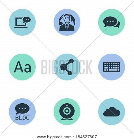 Vector Illustration Set Of Simple User Icons. Elements Site, Broadcast, Share And Other Synonyms Coming, Forum And Cedilla.