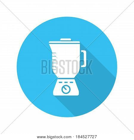 Blender flat design long shadow icon. Food processor. Vector silhouette symbol