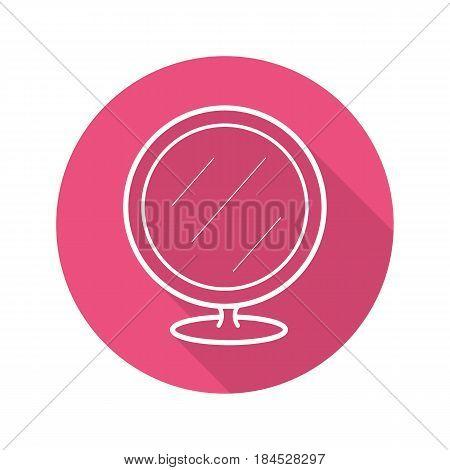 Shaving mirror flat linear long shadow icon. Bathroom portable round mirror. Vector line symbol