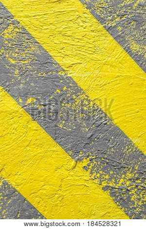Background, Yellow-gray Warning Stripes. Warning Of Danger. Vertical Frame