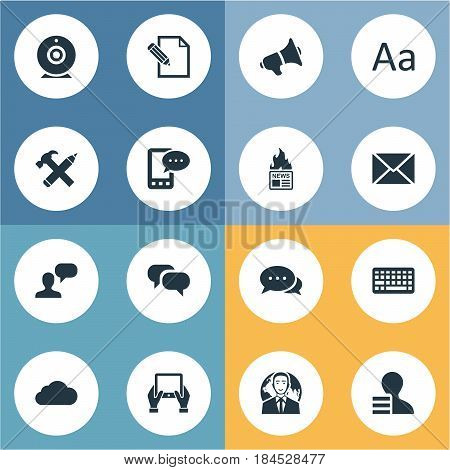 Vector Illustration Set Of Simple Newspaper Icons. Elements Gossip, Gazette, International Businessman And Other Synonyms Loudspeaker, International And Post.