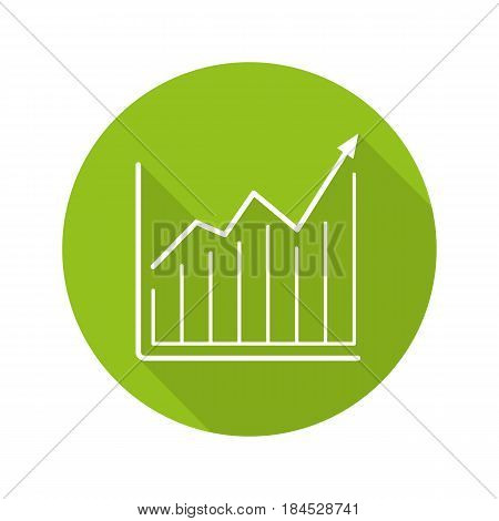 Market growth chart. Flat linear long shadow icon. Diagram. Business statistics graph. Vector line symbol