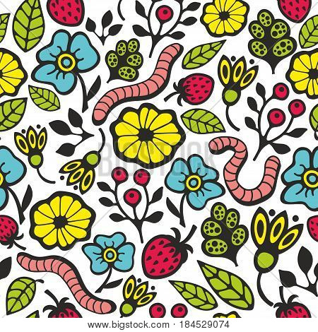 Colorful seamless pattern with flora and fauna in the garden. Vector illustration for endless wallpaper.