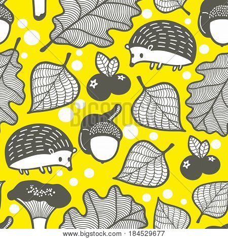 Endless pattern with forest flora and fauna. Colorful vector background.