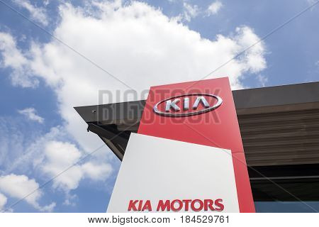 Frankfurt Germany - March 30 2017: Kia Motors dealership in the city of Frankfurt. Toyota is world's leader in sales of hybrid vehicles.