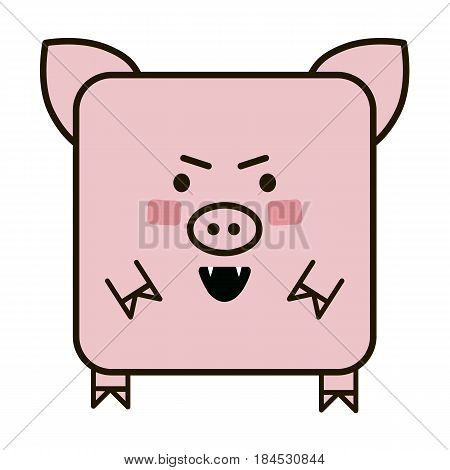 angry  cute pig flat emoticon, vector emoticon