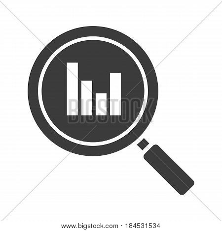 Statistics search glyph icon. Silhouette symbol. Digital charts. Magnifying glass with growth chart. Negative space. Vector isolated illustration