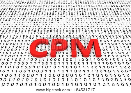 CPM in the form of binary code, 3D illustration