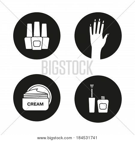 Manicure icons set. Nail polish bottles, woman's hand with manicure, cream jar. Vector white silhouettes illustrations in black circles