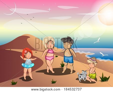 Happy family on summer vacation. Hello summer design concept. Vector illustration